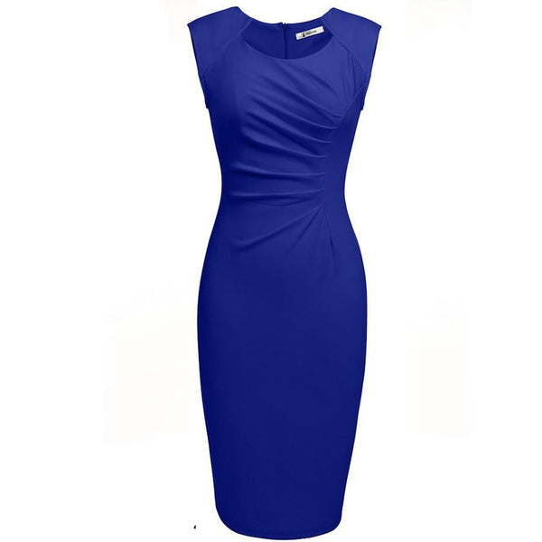 Women Sexy Casual Elegant Dresses Cap Sleeve Pleated Solid Slim Pencil Office Lady Dress