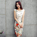 YuooMuoo Arrival Summer Women Dress Elegant Knee-length Office Dress Fashion Slim Floral Dress Women Party Dresses