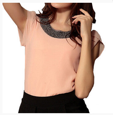 Online discount shop Australia - Fashion Chiffon Women tops sleeve shirt women casual blouse beading elegant blouse brief loose tops