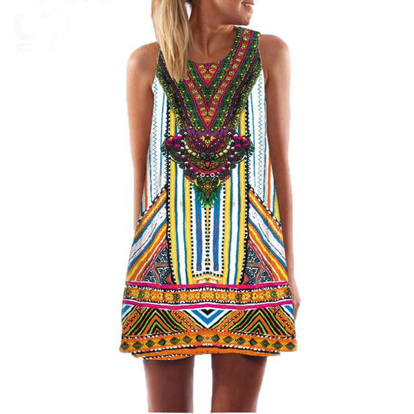 Sexy Women Summer Casual boho Maxi Party Evening Mini Dress Beach Floral dress sleeveless dresses casual