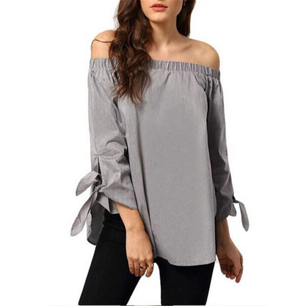 Women Sexy Slash Neck Off Shoulder Strapless Long Sleeve Bowknot Blouse Top Casual Loose Shirt dress 4 Color