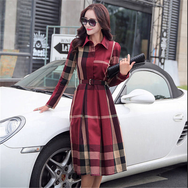 Online discount shop Australia - European Style Women Spring Autumn Dress Elegant A-Line Plaid Long Sleeve Dress Slim Work Wear OL Dresses SS372