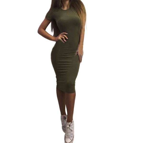 Online discount shop Australia - Feitong Summer Women Dress Fashion Ladies Sexy Basic Short Sleeve Bandage Bodycon Sheath Party Midi Dresses Vestidos Femininos