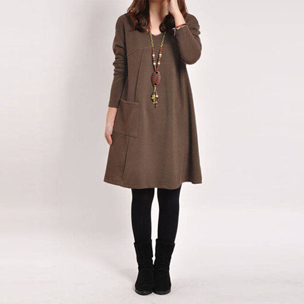 Online discount shop Australia - Long Blusas Women Long Sleeve Pocket Dress Solid O Neck Casual Loose Dresses Vestidos Plus Size S-5XL