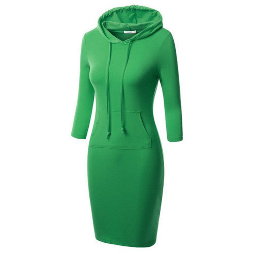 Online discount shop Australia - Fashion Women Striped Hoody Hoodie Hooded with Pockets Autumn Winter Wear Bodycon Casual Pencil Dress