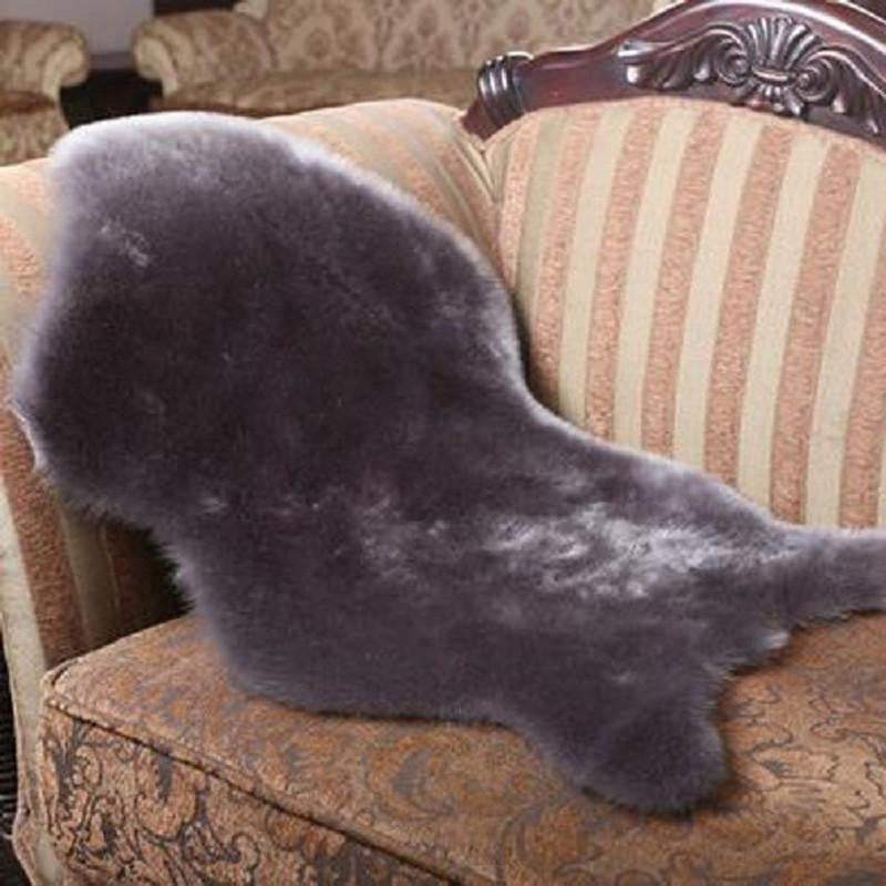 Sheepskin Rug Soft Hairy Carpet Chair Cover Seat Pad Plain Skin Fur Plain Fluffy Area Rugs Washable Bedroom Faux MatGrey60x90cma