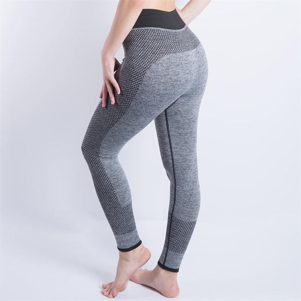 Women Sexy Cropped Leggings High Waist Elastic Wicking Force Exercise Female Elastic Stretchy Leggings Slim Trousers 34 C