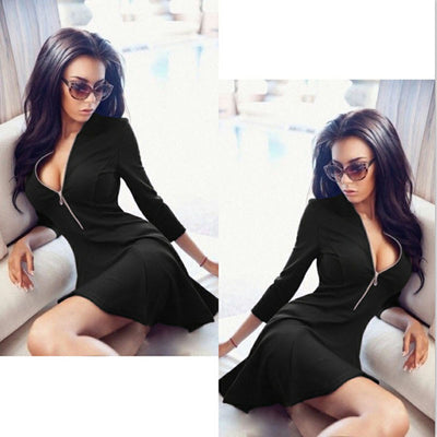 Online discount shop Australia - Autumn Fashion Women Dress Solid Pleated V-neck Sexy Ladies Dresses Evening Party Bodycon Mini Summer Dress vestidos