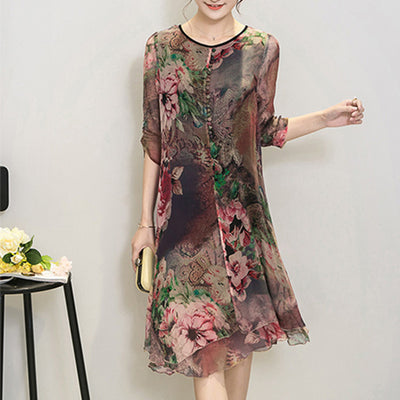 New Fashion Women Summer Plus size clothing silk vintage bohemia expansion bottom dress print beach party dresses vestidos