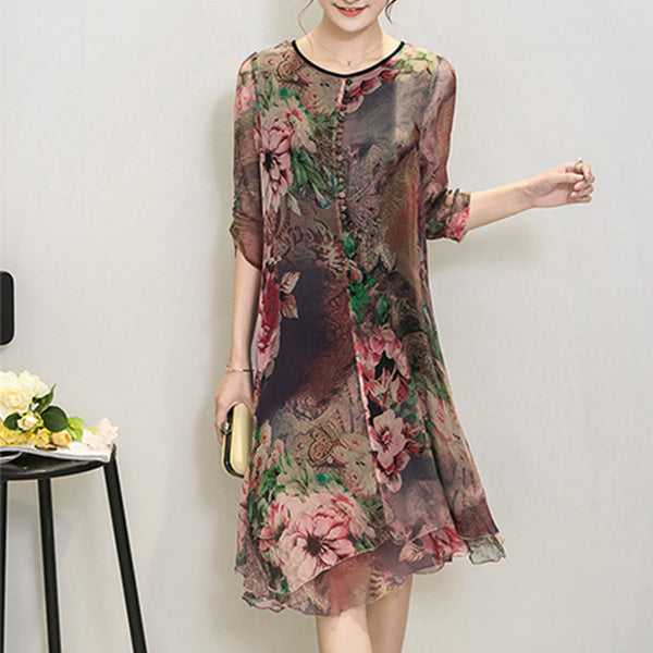 be7325ed400 New Fashion Women Summer Plus size clothing silk vintage bohemia expansion  bottom dress print beach party
