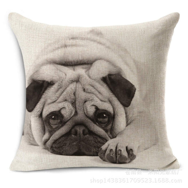 Online discount shop Australia - Animal French Bulldog Cushion Cover Pug Dog Pillowcase Woven Cushion Cover Cotton Linen Car Pillow Covers Decorative