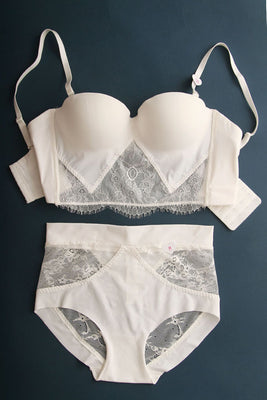 Online discount shop Australia - 1/2 cup lace thicken deep v bras and transparent panties young girls lingerie push up women underwear set plus size