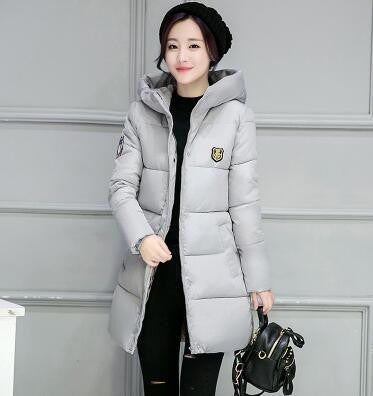 Women Coat Elegant Pure color Thick Warm Hooded Down Cotton Jacket High quality Large size Women Coat