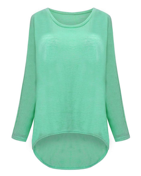 T-shirt Women O neck Long Batwing Sleeve Loose Tee Shirts Female Casual Solid Plus Size S-3XL Top