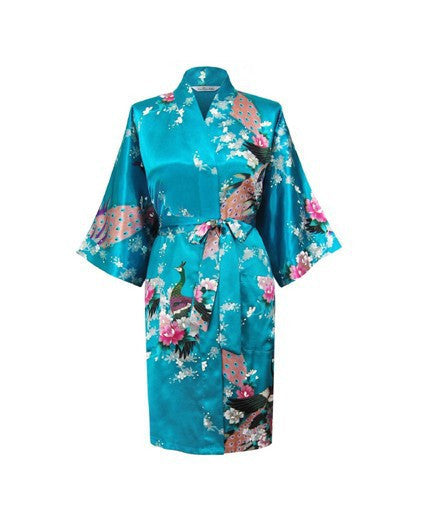 Silk Satin Wedding Bride Bridesmaid Robe Floral Bathrobe Short Kimono Robe Night Robe Bath Robe Fashion Dressing Gown For WomenAs the photo show 14Ma