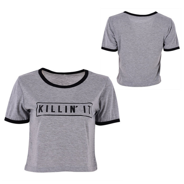Online discount shop Australia - Killin It Letter Print Fashion Women  Top Letter Print Casual T shirt Sexy Slim Funny Top Tee Short Sleeve Shirts