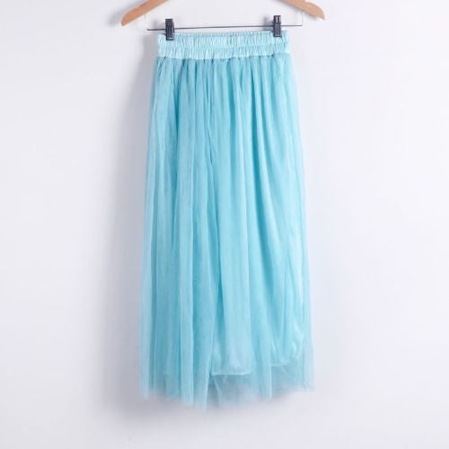Online discount shop Australia - Ladies Women's Mid-calf Chic Pleated 3 Layers Gauze Tulle 70cm Long Maxi Skirts TOP QUALITY