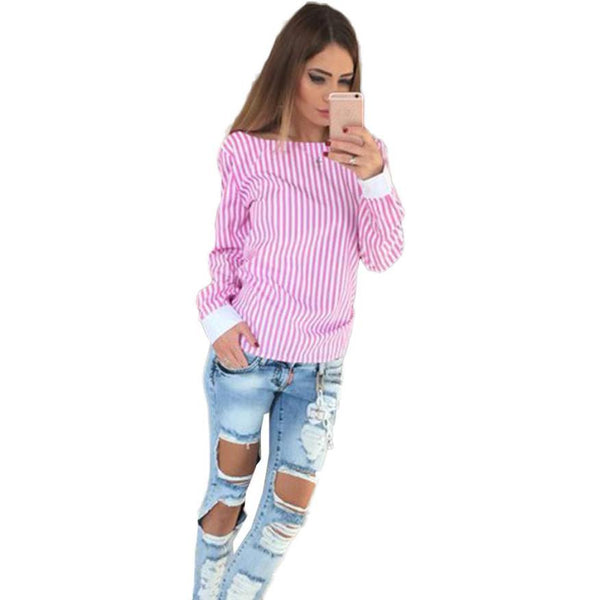 Online discount shop Australia - Chiffon Blouse Slim Thin Striped Women Clothes Sexy Backless Bowknot