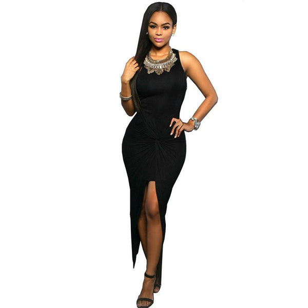 c4e98eebe1 Women Summer Bodycon maxi dress Front Knot Sexy Long Club dress Sleeveless  Vortex Fold High Split Party dress
