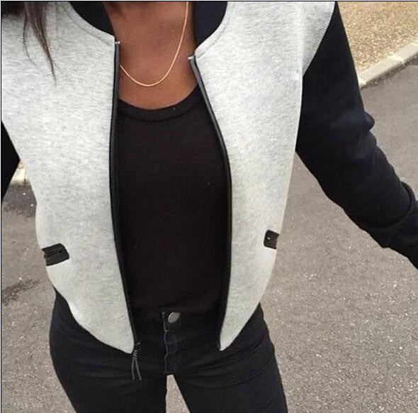 Zippers Patchwork Women Basic Jackets Coat Long Sleeve Casual Slim Outwear Coats Women Basic Cardigan GV268