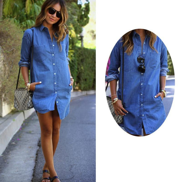 s Casual Women Dress Long Sleeve Mini Shirt Dress Blue Jeans Denim