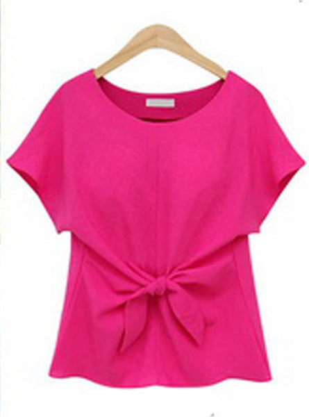 Online discount shop Australia - fashion women Bowknot blouses O-neck short sleeve shirts chiffon casual vintage tops plus size 4XL blouse new