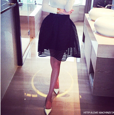 Online discount shop Australia - fashion skirt womens striped hollow-out fluffy skirt swing skirt ladies Black/White Ball Gown