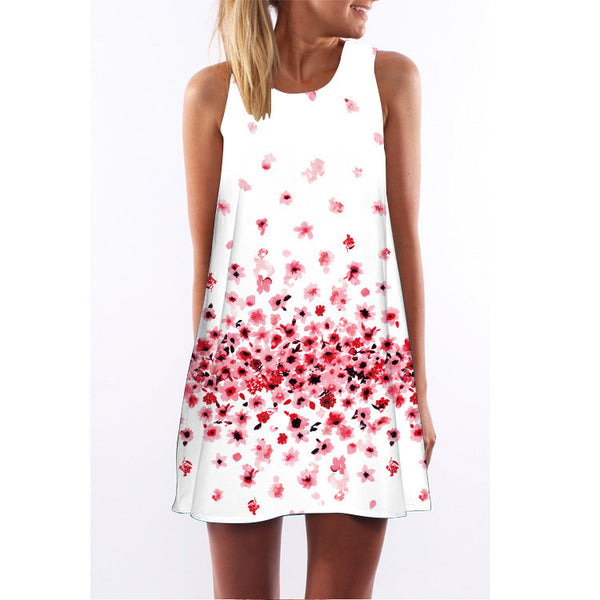 New Summer women O-neck sleeveless dresses heart-shaped love printed white dress female fashion loose-fitting