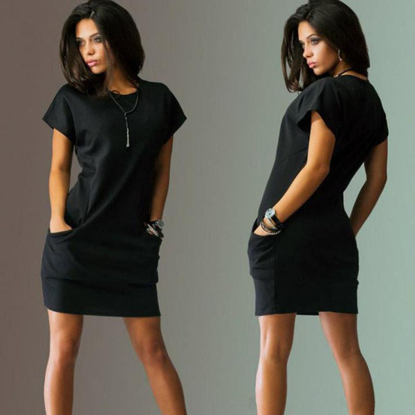 Summer Dress Black Red Women Dress Short Sleeve Pockets Loose Casual Vestido Corto O-Neck Women's Mini Dress