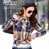 new female and long sleeve casual plaid shirts / women's plus velvet youth pop thick slim shirt
