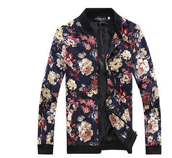 Online discount shop Australia - Men's Slim jacquard jacket coat fashion leisure wild cardigan stylish floral jacket men