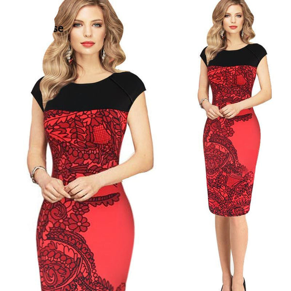 Online discount shop Australia - Dress Women Pinup Red Sheath Fitted Dress Business Work Pencil Dress Plus Size