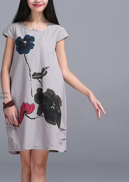 New Fashion Summer Arts style High Quality cotton linen Loose casual Women Dresses Vintage Ink Printing Short sleeve Dress