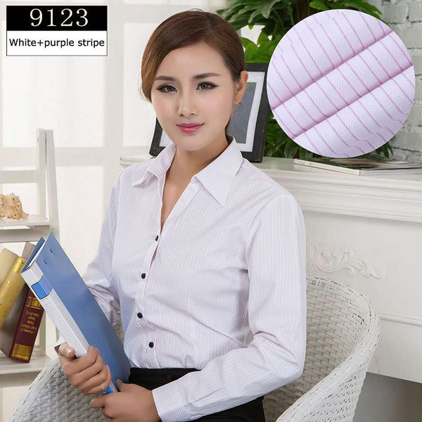 Online discount shop Australia - Blouses Shirts Office Lady Work Wear Plus Size Long Sleeve Cotton Basic Shirts Formal Women Blouses Tops