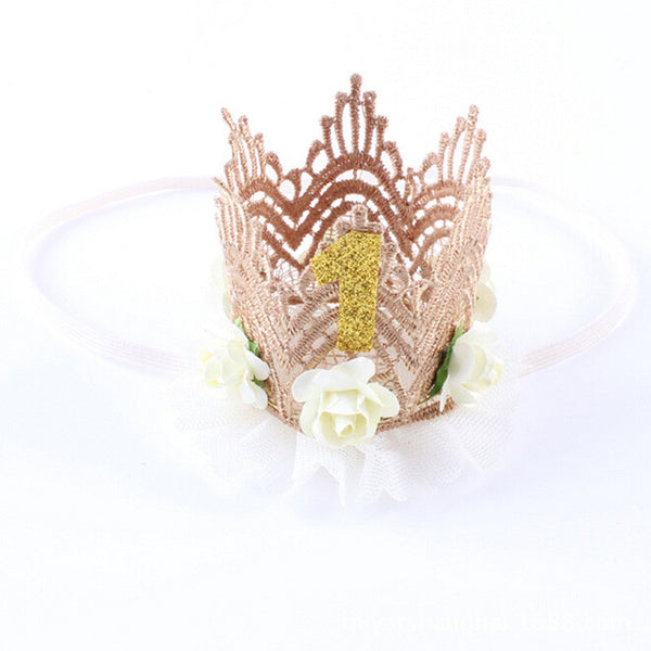 Online discount shop Australia - 7 Colors Newborn Baby Birthday Crown Headband Flower Lace Gold Tiara Headband for Baby Girls Party Hiar Band Accessories Gifts