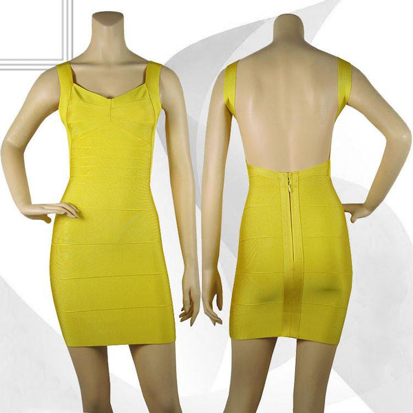 Spaghetti strap celebrity HL bandage dress open back sexy night club party yellow short mini backless dress vestido HL1113
