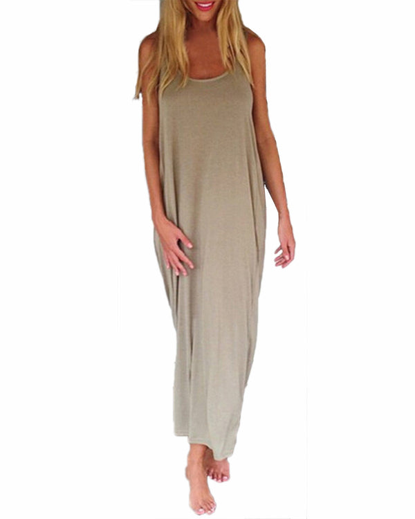 bd414b4a28 Women Fashion Casual Loose Solid Dress Sleeveless Backless Long Maxi Beach  Dresses Plus Size