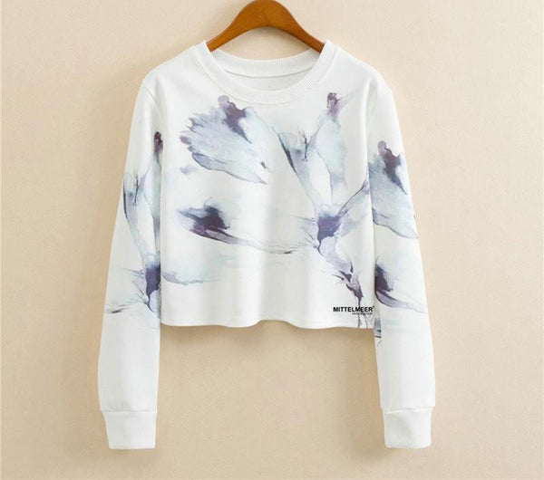 Women Casual Pullover Fashion Crop Tops Round Neck Long Sleeve Ladies Cat Short Cropped Sweatshirt