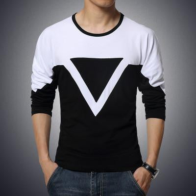 solid color stitching round neck long-sleeved sleeve Men's T-Shirt