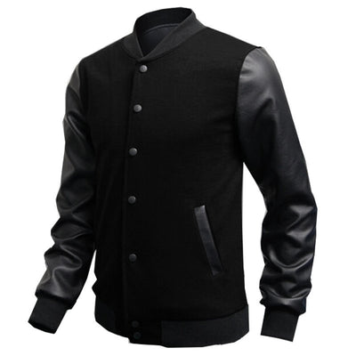 Online discount shop Australia - Mens Fashion Slim Outwear Leather Sleeve Male Personalized Baseball Stitching Leisure Jacket Coat 5 Color