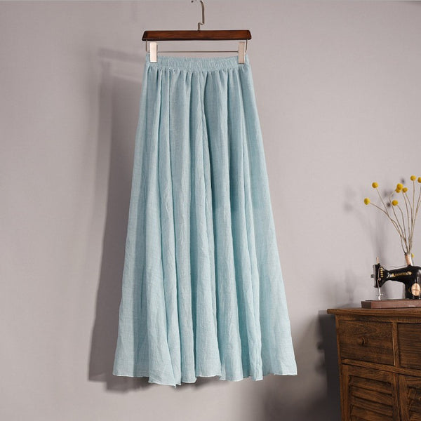 Online discount shop Australia - Fashion Brand Women Top quality Cotton and Linen Long Skirt Elastic Waist A-line Pleated Maxi Beach Vintage Summer Skirts