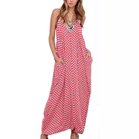 Summer Dress Fashion Women Dress Strapless Polka Dot Loose Beach Long Maxi Dress Vintage Vestidos Plus Size