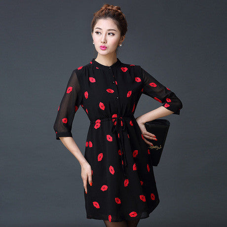 Online discount shop Australia - Autumn Cute Red Lips Print Stand Collar lined Dresses Women Chiffon Dress with Sashes Plus Size S-4XL