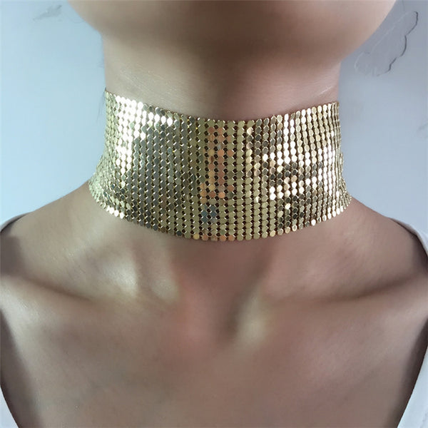 New Design Punk Style Jewelry Wide Mesh Choker Gold Plated Alloy Statement Necklace For Women