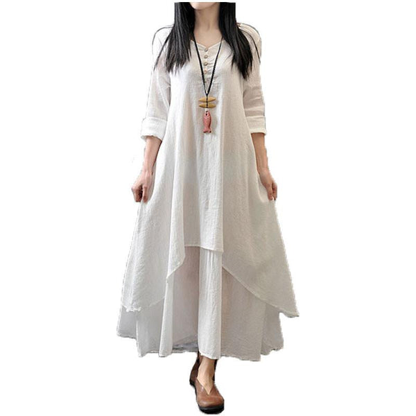 Zanzea Spring Autumn Fashion Women Casual Loose Long Sleeve V-Neck Dress Boho Solid Long Maxi Dress Vestidos Plus Size 5XL