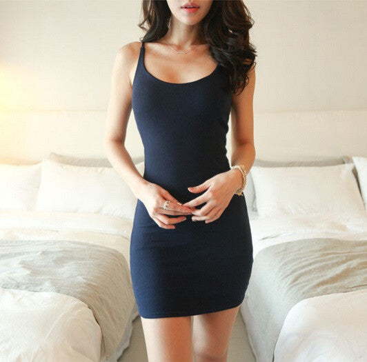 Online discount shop Australia - Casual Dresses Summer new arrival sleeveless tank dress sexy tight fitting suspender plus size women dress Cotton