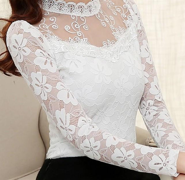 Women Sexy Hollow Out Lace Blouse Long Sleeve Stand Collar Floral Lace Shirt Tops Casual Thicken