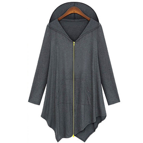 Online discount shop Australia - Cotton Trench Coat Women Hoodied Overcoat Female Zipper Cardigans Grey/ Black Color Plus Size 4XL