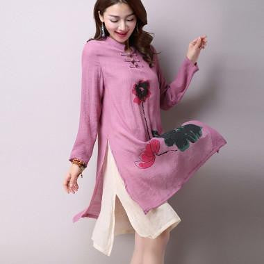 Spring New Women's National Wind Casual Long-Sleeved Cotton Linen Dress Plus Size Long Linen Dresses Simple Printing CX002PinkXXLa