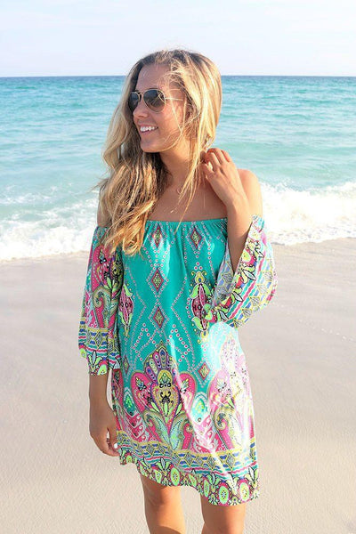 Summer beach Dress Fashion Bohemian Boho Flower Print Off Shoulder Womens Casual Vintage Women Plus Size Dresses